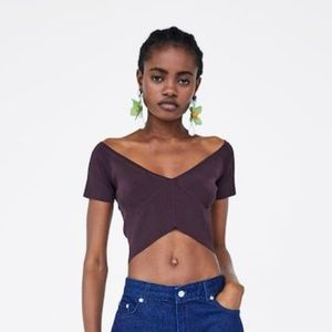 NWT Zara Brown Crop Top V Neck Medium 9919/007